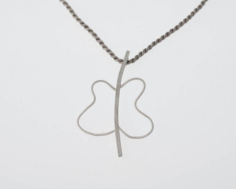 Butterfly Effect Necklace Minimal Abstract Modern Design Gift Sterling Silver Square Wire Curved Wings Free Shipping