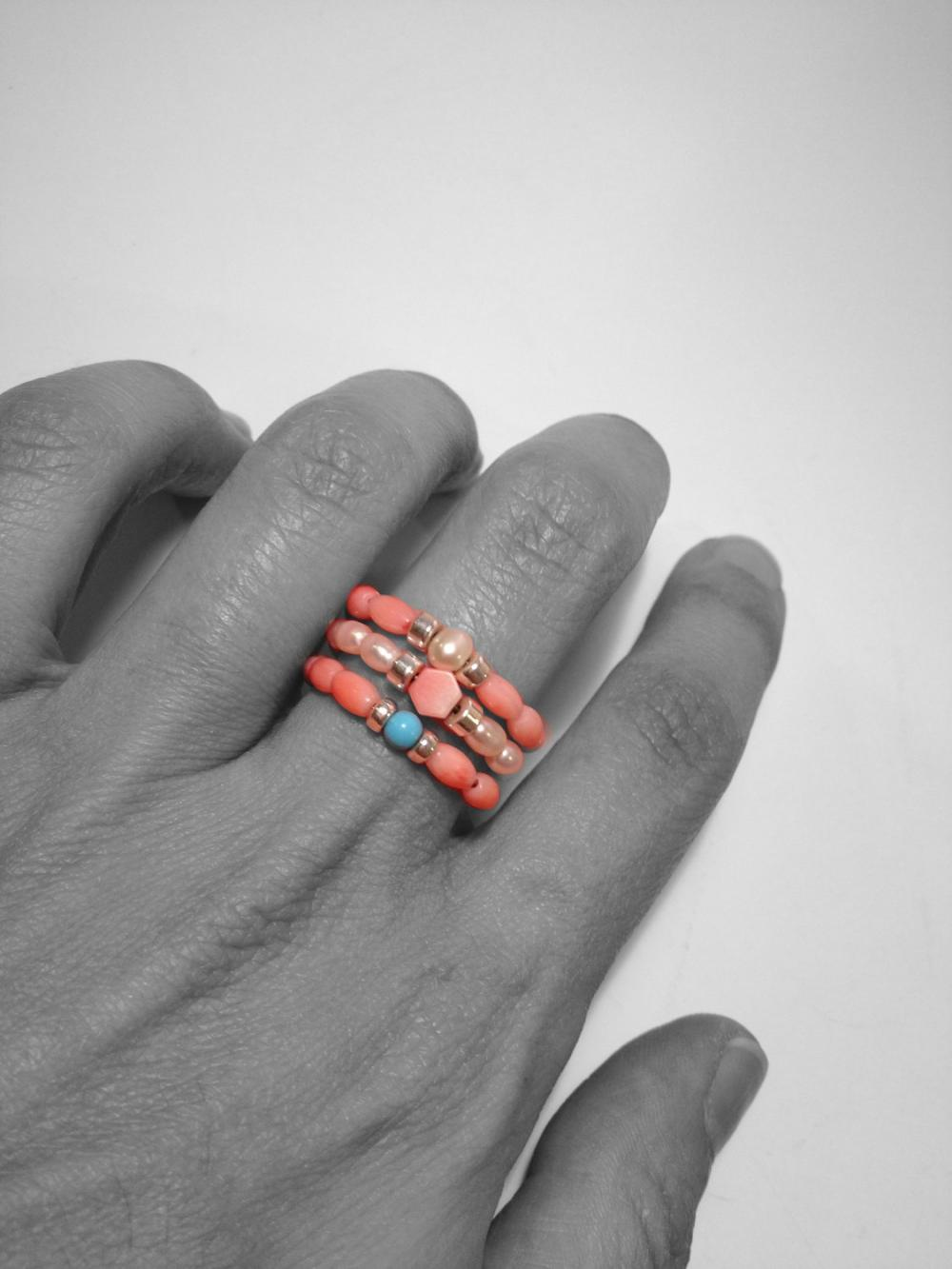 Coral Reef Set of Three Stacking Rings with Freshwater Pearls Coral Turquoise Gemstones and Sterling Silver Bead Fresh Summer Accessory Gift